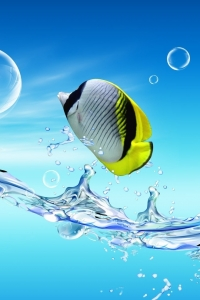 Vorschau Verträumten Fische Handy Logo