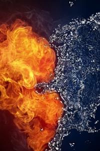 Vorschau Feuer und Wasser Herz Handy-Logo