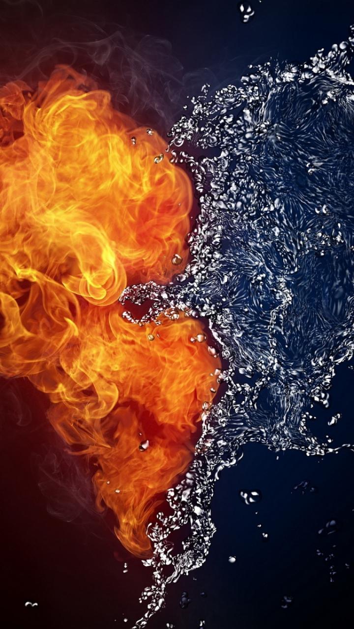 Feuer Und Wasser Herz Handy Logo Kostenlos Hintergrundbild Auf Dein