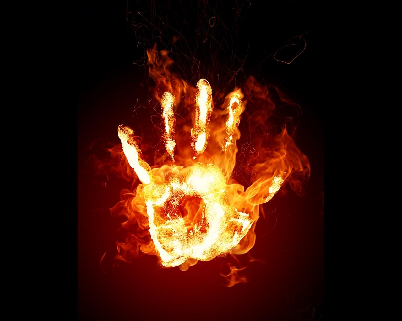 Handy logo hand des feuers